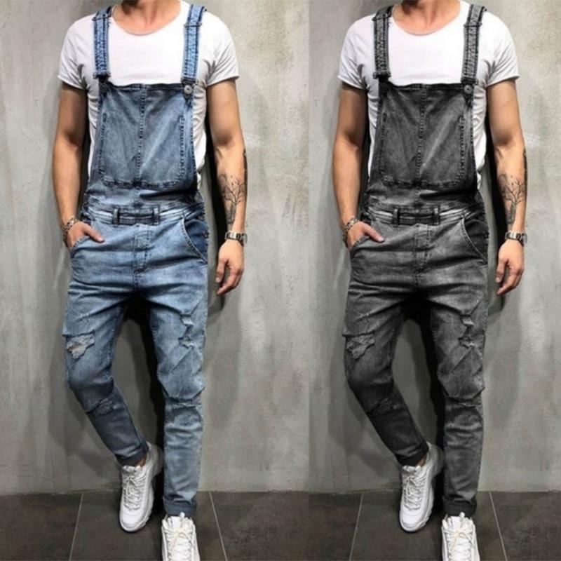 Комбинезон мужской джинсовый рваный, брендовый хлопковый прямой брючный костюм, крутая уличная одежда в стиле хип-хоп, джинсовый комбинезо...