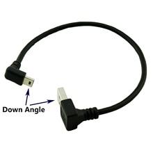 1pcs USB 2.0 Tipo A Macho Para Baixo Ângulo para Mini USB 90 5 Pin B Macho Para Baixo Em Ângulo Graus cabo de dados Carregador Cabo Adaptador 25cm