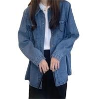 2021 new blue denim jacket women spring and autumn korean version loose lapel long sleeve temperament fashion denim coat gh222