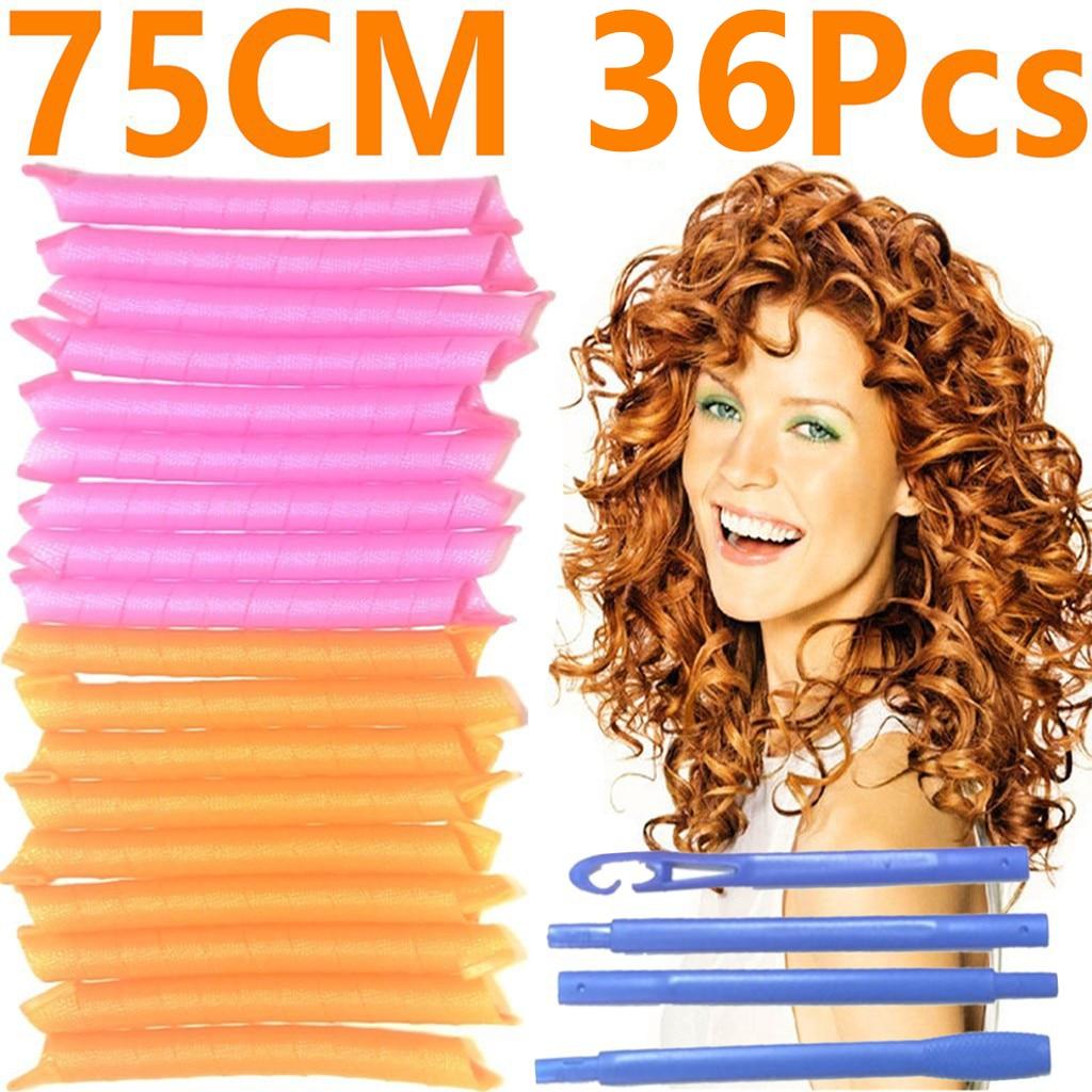 75CM 36Pcs Hair Rollers Snail Shape Not Waveform 6 Sticks Spiral Round Curls Hair Curler Soft Hair C
