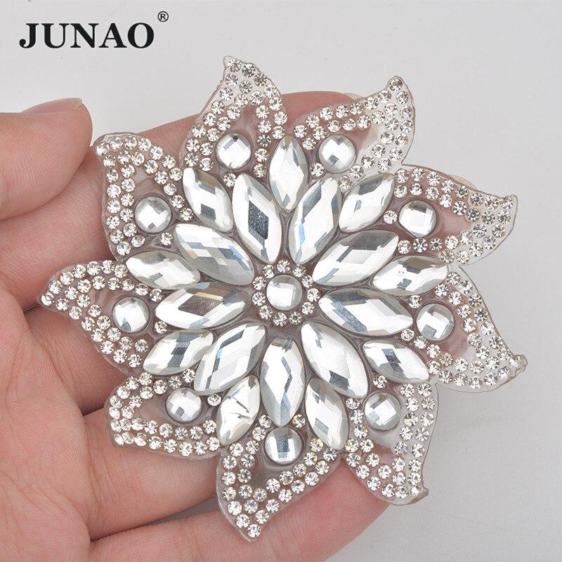 JUNAO 75mm Hotfix claro Flor de cristal Rhinestones parches hierro sobre parche para ropa apliques de cristal Strass motivos para artesanías