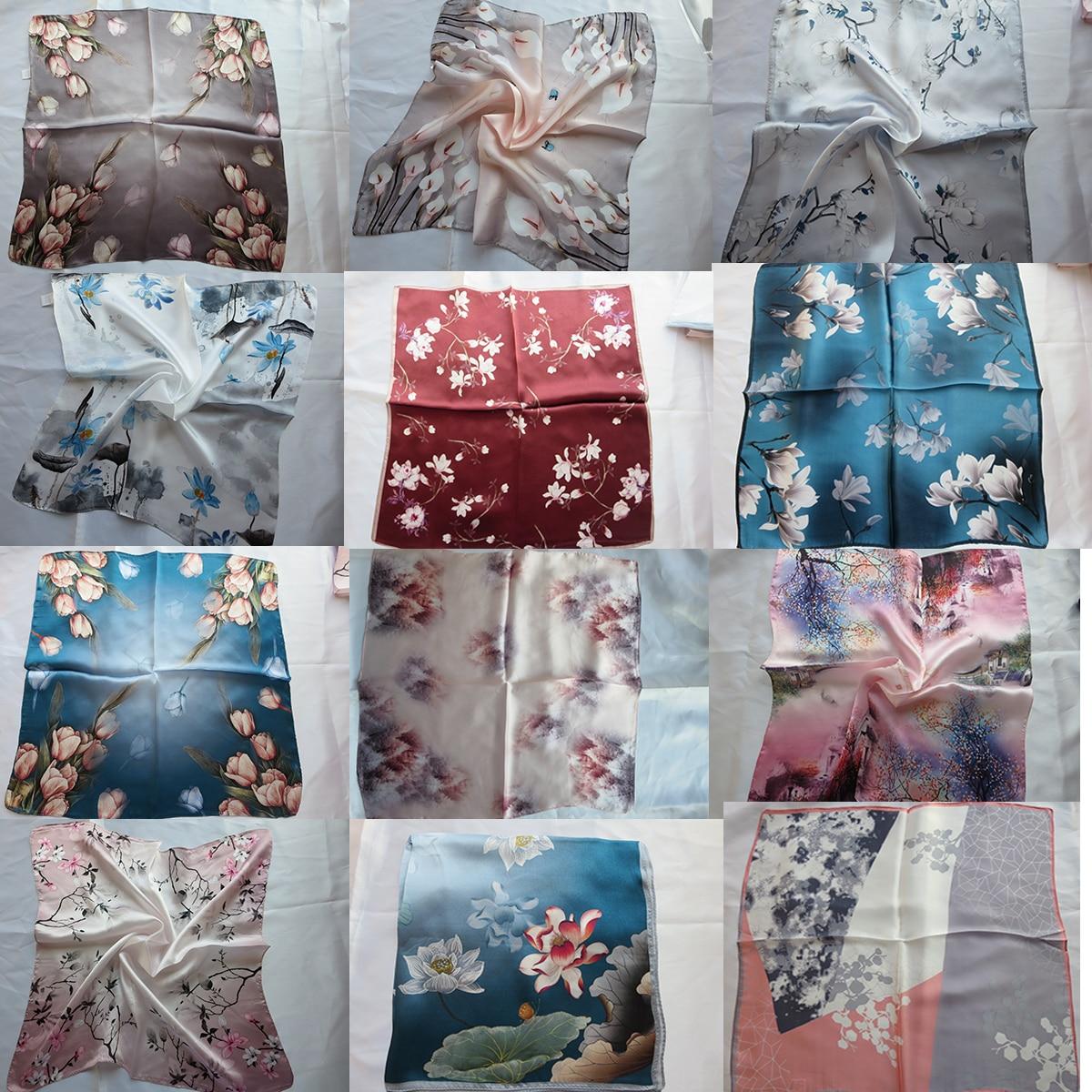 Pañuelo cuadrado de seda 100% pura para mujer, pañuelo estampado Vintage para cuello, diadema para proteger la columna Cervical 52*52CM