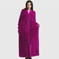 loose womens bathrobe flannel long sleeve pockets ladies casual homewear fluffy zipper winter warm robes for female 2021 new