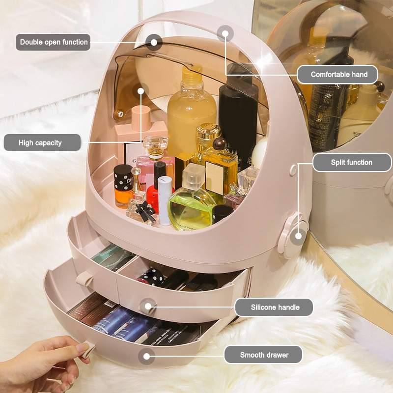 مخزن للمكياج صندوق درج نوع سطح المكتب الغبار نافذة شفافة منظم أدوات التجميل PLYED889