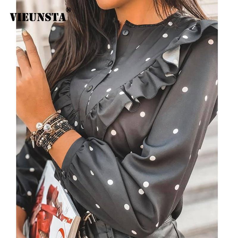 2020 primavera Polka Dot Ruffle blusa elegante camisa de moda cuello redondo botones Streetwear Tops señora otoño manga larga Pullover mujeres
