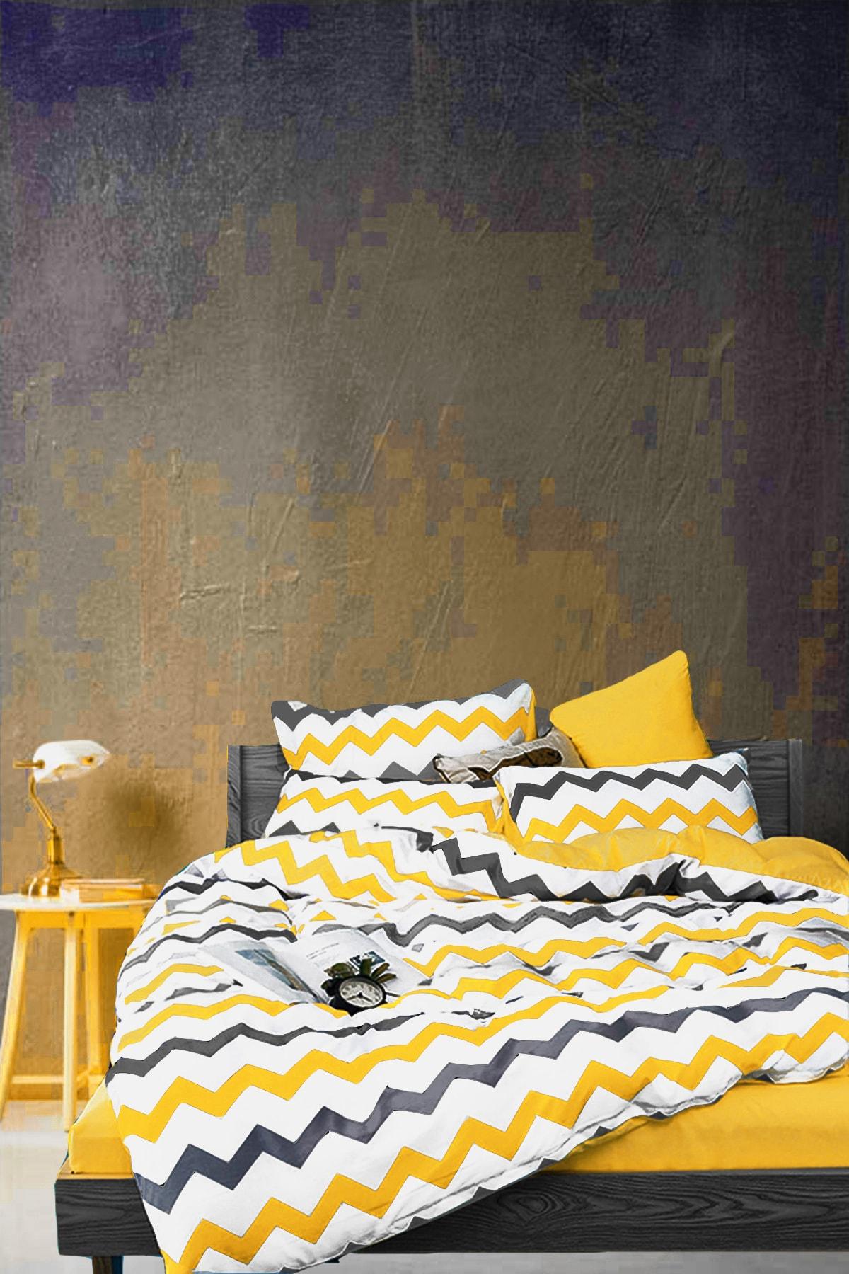 Natural Cotton Single Bed Duvet cover set Yellow Chevron-899846137