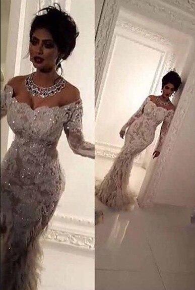 Sirena lujo encaje apliques barco cuello Bling vestido de novia elegante plumas 2018 robe de mariage Madre de la novia vestidos