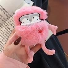 Nowa kreskówka śliczna różowa pluszowa żaba z koroną słuchawki etui na apple Airpods 1/2 zabawna ochrona flaneli osłona na słuchawki