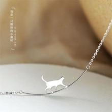 New Fashion Cat curvo personalità semplice gioielli in argento Sterling 925 simpatico animale Walking Cat clavicola collane a catena XL090