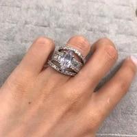 mengyi fashion bague luxury 3pcsset of rings inlaid shiny cubic zirconia geometric irregular 9 2 5 jewelry womens wedding ring