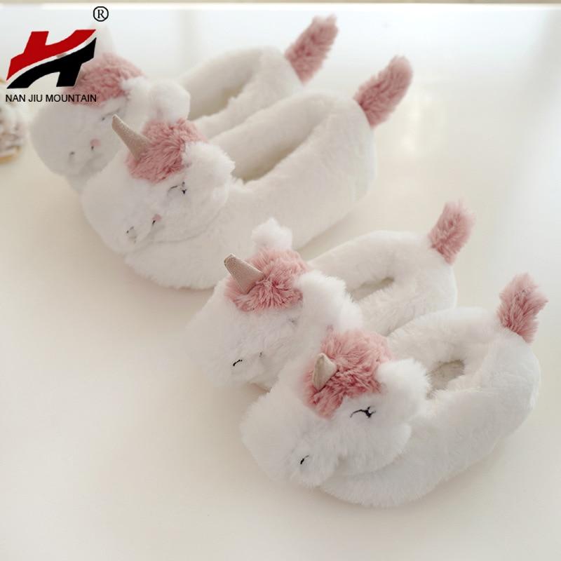 NAN JIU, zapatos de invierno de algodón para mujer, zapatillas de dibujos animados, zapatos para interior del hogar, bolsa, zapatos de tacón de unicornio para mujer