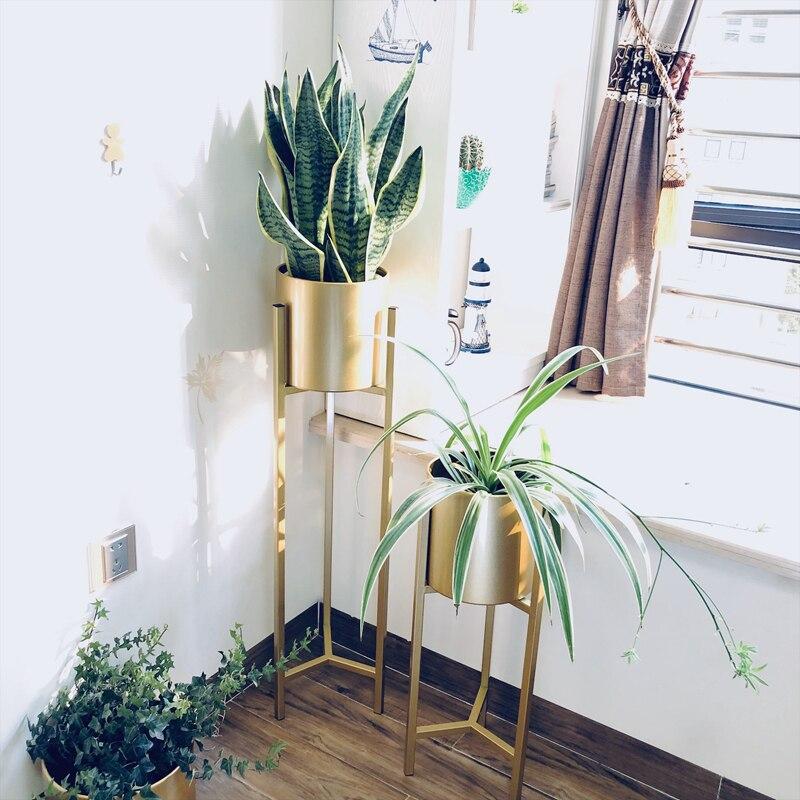 Criativo de Ferro Interior da Sala de Estar Andar de pé Vaso de Flores Suporte Verde Forjado Nórdico Varanda Moderno Simples
