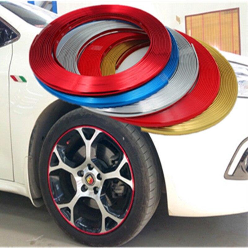Tira decorativa para rueda modificada con estilo de coche/tira de ajuste Universal de 8M antiarañazos y anti rayas/para coche