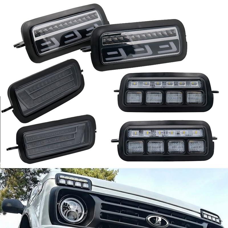 Para Lada Niva 4X4 1995, luces LED DRL con señal de giro para correr, PMMA/ABS, accesorios de función de plástico, ajuste de estilo de coche