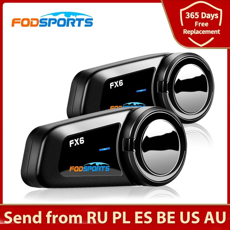 Fodsports 2 قطعة FX6 الخوذة إنترفون دراجة نارية خوذة بلوتوث سماعة 6 رايدر 1000m مجموعة BT البيني Intercomunicador FM