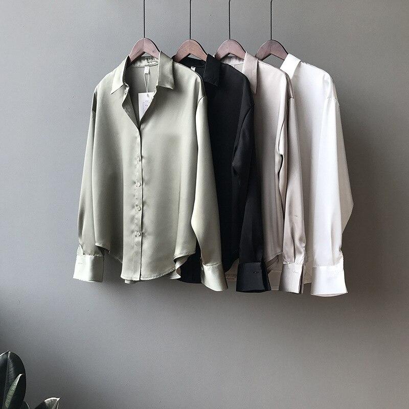 2020 new autumn fashion button satin silk shirt vintage shirt female white black blue women long sleeve women loose Street shirt