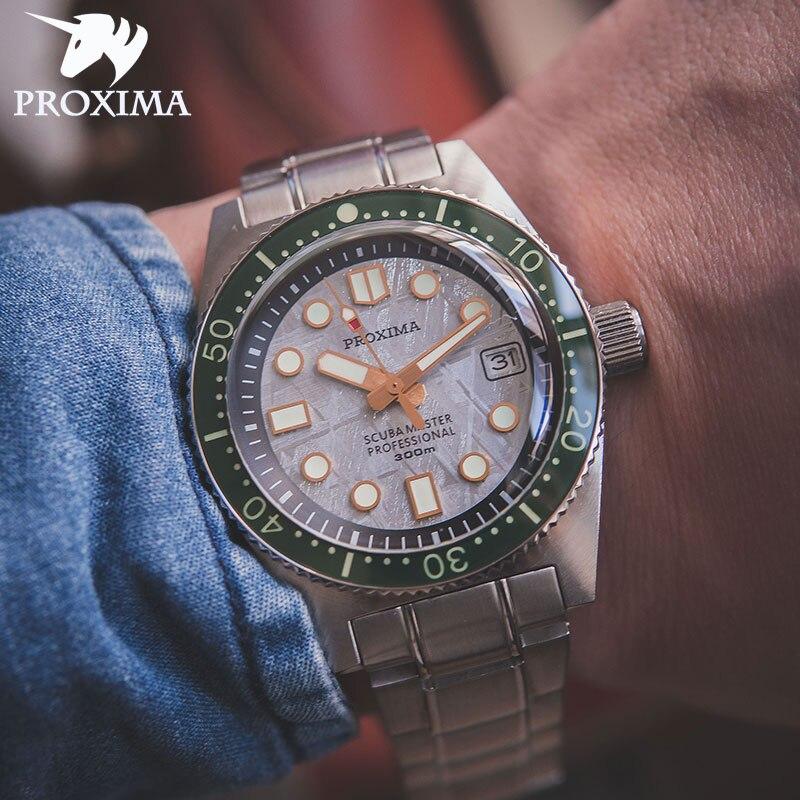 بروكسيما 2021 العلامة التجارية للرجال ساعة غوص خمر الفولاذ المقاوم للصدأ ساعة أوتوماتيكية نيزك الهاتفي الياقوت الزجاج NH35 ساعة رجالي