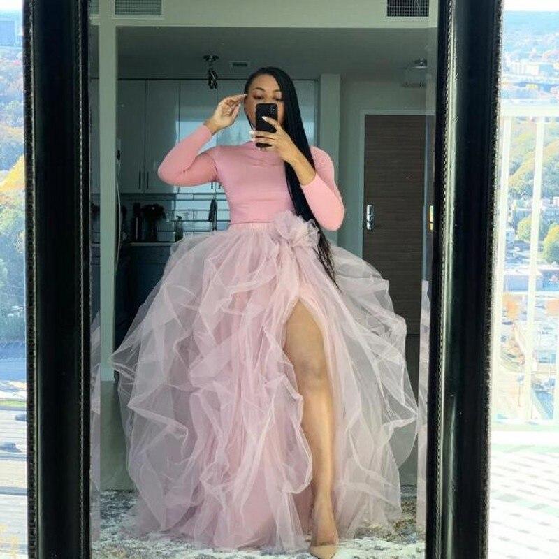 Dusty rosa tule saias high street feito sob encomenda longo fenda tule saia feminina para festa maxi tule saias meninas