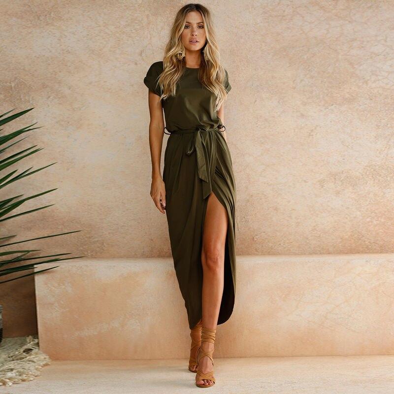 MRMT 2021 Brand New Womens Dress Short Sleeve O-Neck Solid Color Women Dresses for Female Irregular Woman Clothing