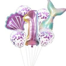 Mermaid Birthday Balloons Cartoon Number Foil Balloon Baby Shower Ballon for Kids First Birthday Par