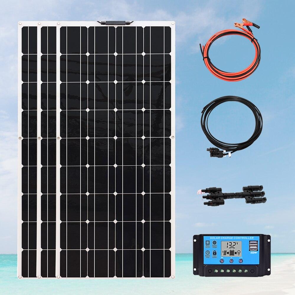 Panel Solar de 120w, 240w, 360W, placa solar, kit completo, controlador de carga de 12v, 24v, 30A, 1000 vatios, inversor de coche, Camping, caravana, RV