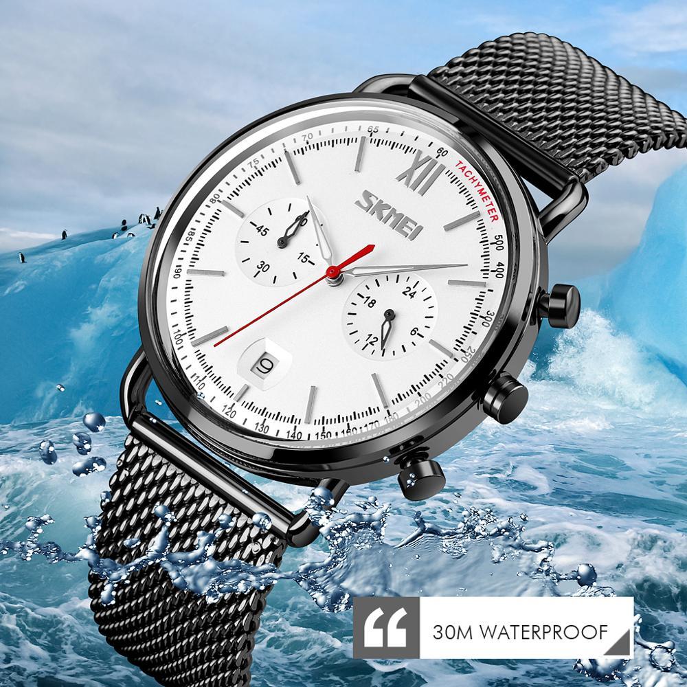 Relógios de Luxo Superior à Prova Relógio de Quartzo Relógio de Pulso Skmei Homens Marca Dwaterproof Água Ultra Fino Data Relógio Masculino Cinta Aço Casual Esportes