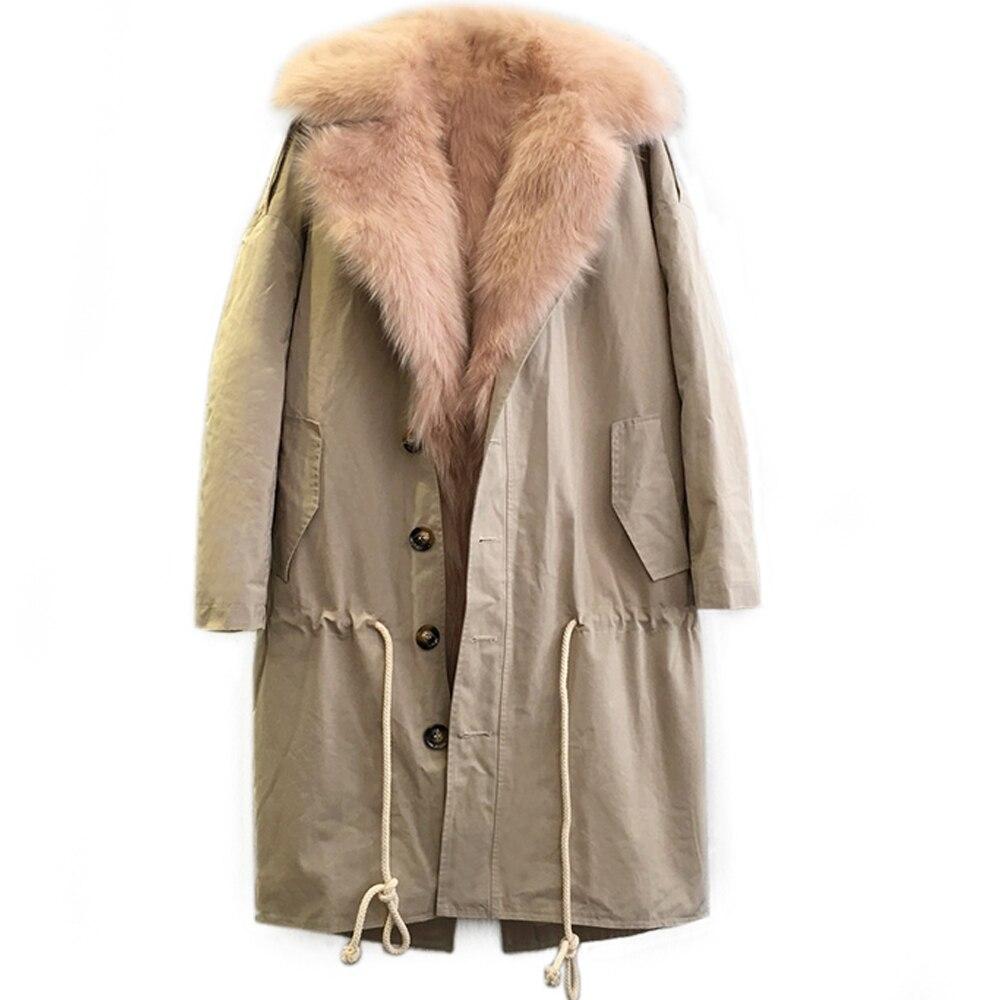 Mulher real pele parka com grande gola de pele de raposa forro destacável casaco de pele natural médio x-long feminino raposa parkas