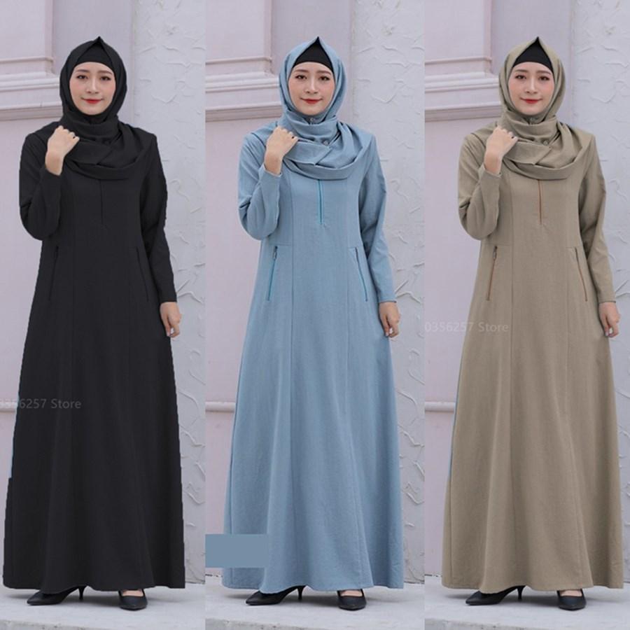 مسلم الموضة بلون سستة عباءة للنساء الكتان القطن الإسلامي دبي نقية أنيقة تركيا قفطان الملابس الأوروبية