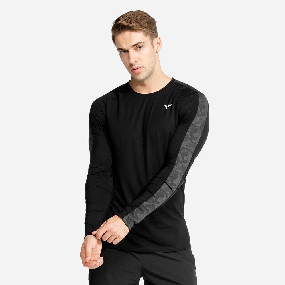 Camiseta deportiva para correr para hombre, camiseta de secado rápido de manga larga, camiseta ajustada para gimnasio, culturismo, camisetas para hombre, ropa de entrenamiento para trotar