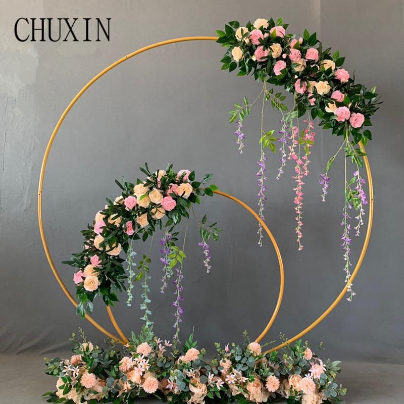 Casamento adereços de ferro forjado anel redondo arco parede artificial flor decoração casa celebração do feriado casamento prateleira fotografia