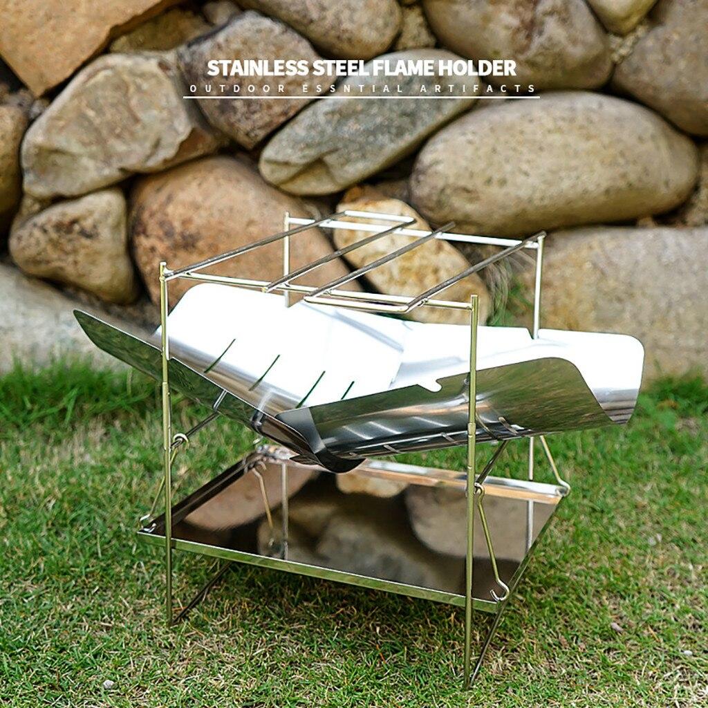 Estufa de fuego de leña plegable portátil para acampar al aire libre bushcraf caza estufa de calefacción ultraligera barbacoa mesa de hoguera de cocina #4