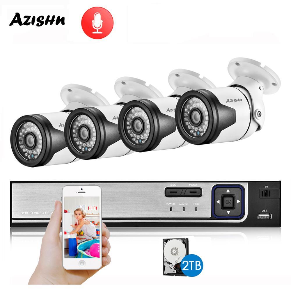 Azeshn-نظام أمان CCTV ، POE ، h265ai ، 4CH ، NVR ، 5 ميجابكسل ، 4 ميجابكسل ، 2 ميجابكسل ، كاميرا IP PoE ، صوت 36ir ، خارجي ، IP66 ، P2P ، مجموعة المراقبة بالفيديو