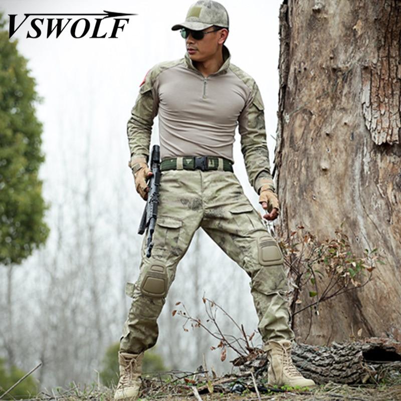 Conjuntos Camo militar Tático da Força Delta Marine Corps Sapo Roupas Suit T Shirt + Calças Dos Homens de Combate Caça Uniforme de Camuflagem