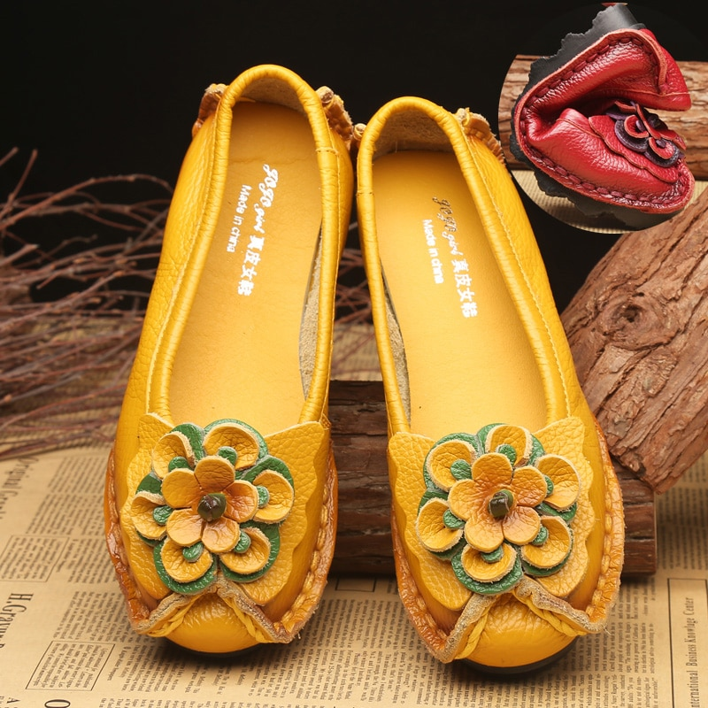 Spring Leather Shoes Women Flats 2021 New Style Flower Genuine For Female Casual Woman Loafers