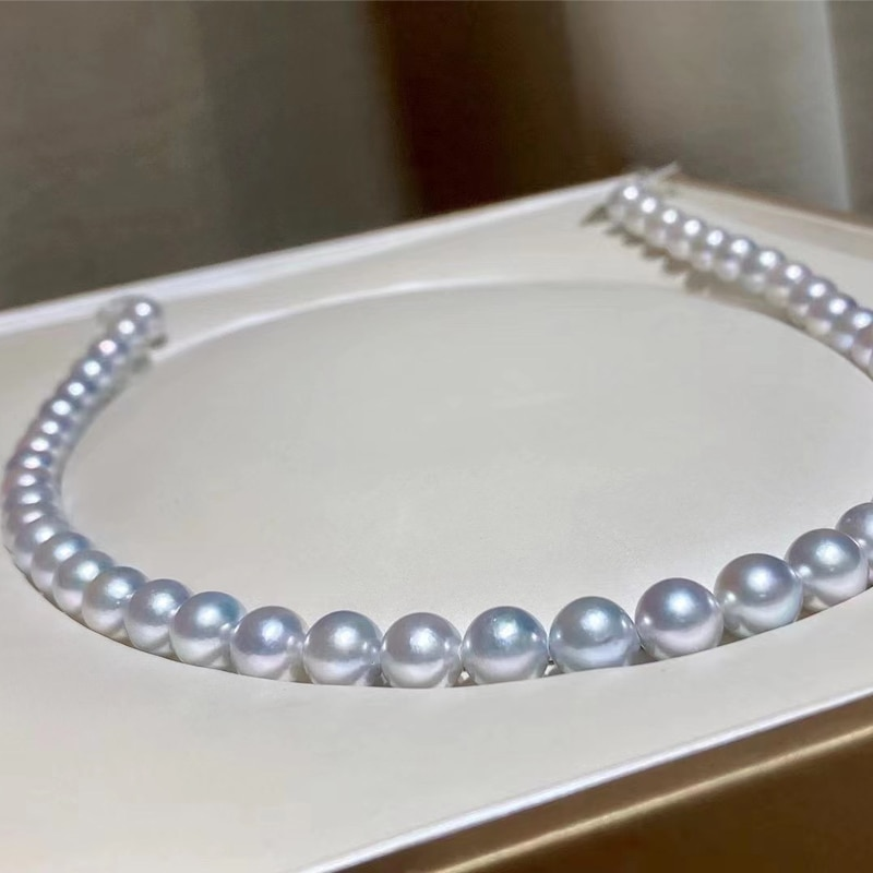 HENGSHENG New Pearls Necklaces Fine Jewelry,Natural Ocean Akoya 8-9mm Round Gray Peals Necklaces for Women Fine Pearls Necklaces