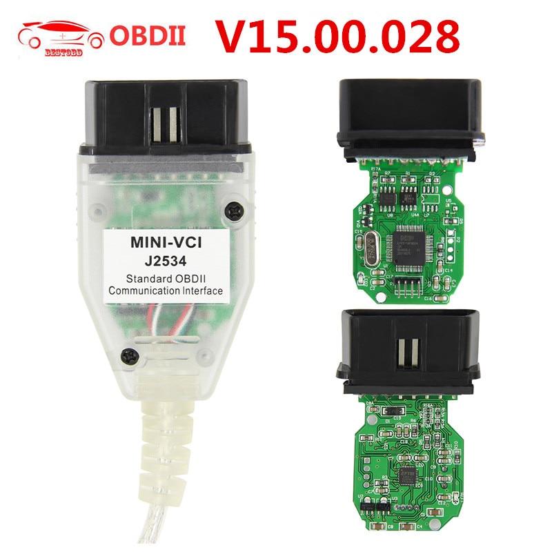 Para TOYOTA MINI VCI J2534 V15.00.028 interfaz TIS Techstream FTDI FT232RQ Chip MINIVCI J2534 OBDII OBD2 Cable de diagnóstico