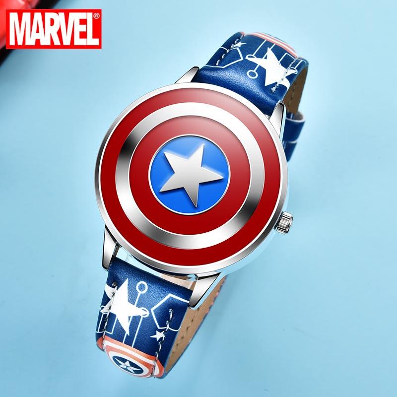 Los vengadores de Marvel de superhéroes de Disney, reloj para niños de cuero PU resistente al agua con funda de Metal y tapa de cuarzo para niños, Capitán América