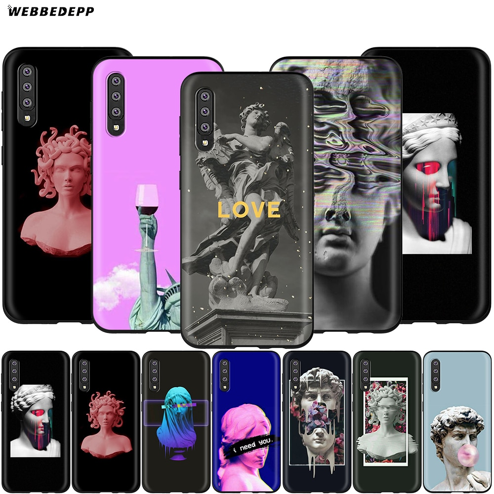 Webbedepp David Estátua Art Case for Samsung Galaxy S7 S8 S9 S10 Plus Nota Borda 10 8 9 A10 A20 A30 A40 A50 A60 A70