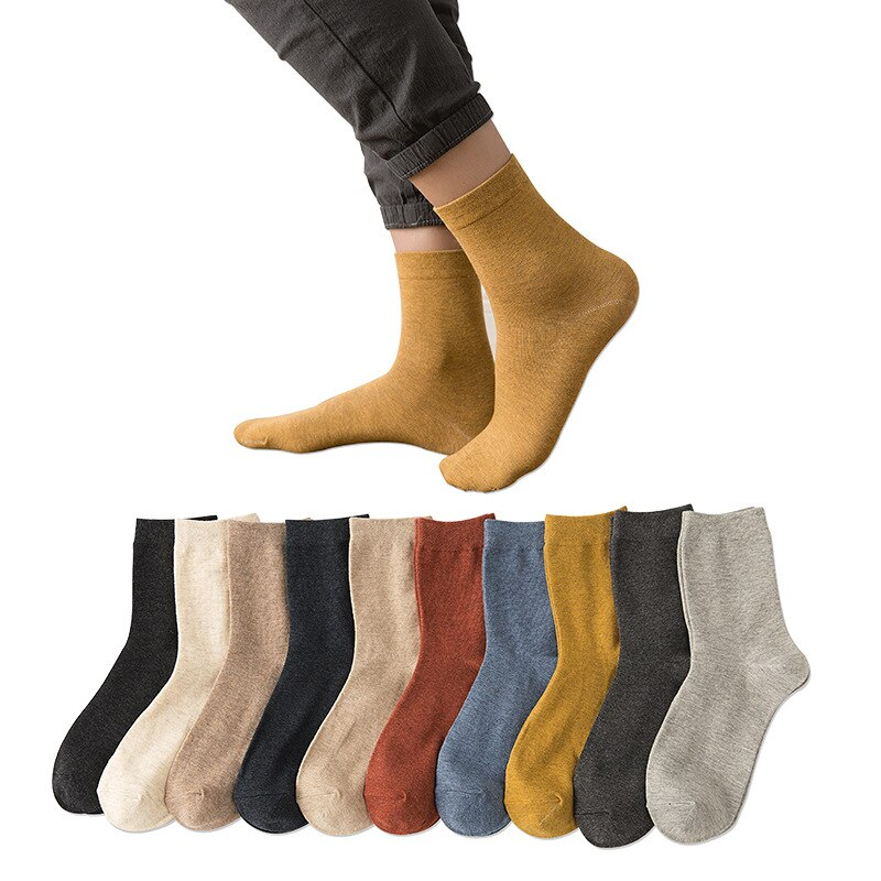 10 Pairs In Tube Socks Autumn Winter Pure Color Soft Cotton Adult Socks Sweat Absorption Breathable Anti Friction Sports Men Sox