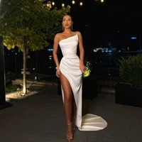 sexy white prom dresses 2021 with high split satin evening gowns for wedding party formal robe de soir%c3%a9e de mariage