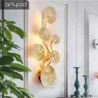 Artpad     applique murale Vintage retro en cuivre  Lustre en feuille de Lotus dore  lampe de chevet  salon  Art decoratif  eclairage de maison  ampoule G4