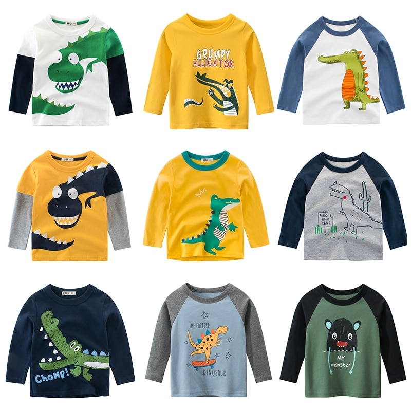 fall winter long sleeves pants cotton set grey stripes rufflepumpkin print pant baby kids wear girls clothing with accessory bow Kids Clothing T shirts Print Girls Boys Cotton Children The Crocodile Baby Toddler Tops Cartoon Full  Long Sleeves Clothes
