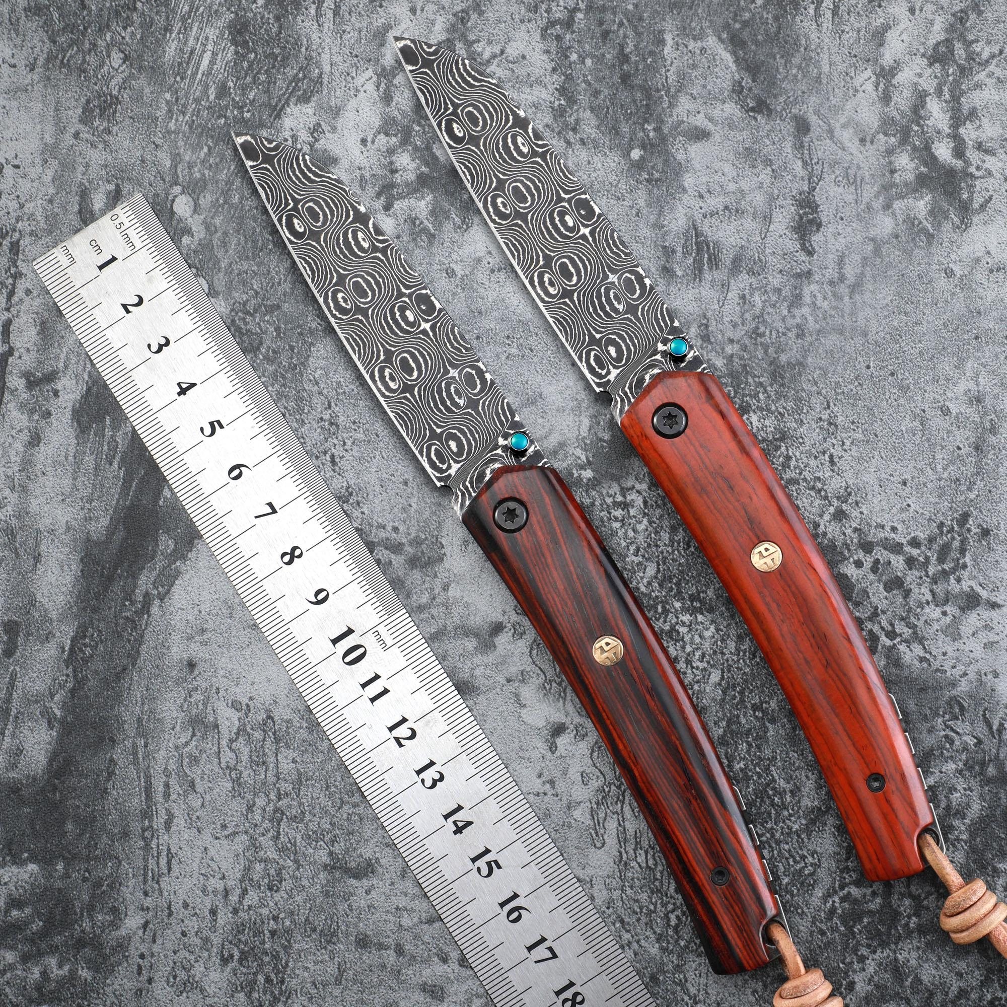 الأصلي محجر الأسماك PF719DM الكرة تحمل شفرة دمشق الصلب مقبض خشبي سكين للفرد في الهواء الطلق التخييم edc سكاكين الجيب