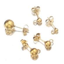 20 pièces en acier inoxydable hypoallergénique 3 4 5 6 8mm boule ronde boucle doreille poteau avec boucle ajustement bricolage boucle doreille bijoux faisant des fournitures