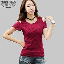 2019 mode plus größe off schulter t-shirt kurzarm shirt frauen top einfarbig loch hemd blusas 3022 50