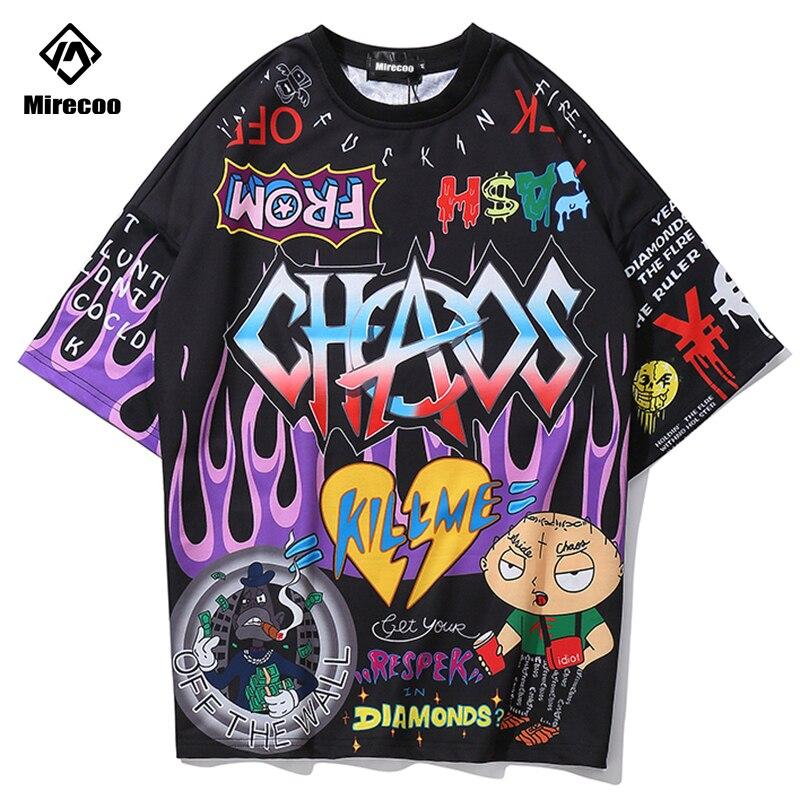 Mirecoo Mannen T shirts Graffiti Hip Hop Gedrukt Grappige T-shirts Mannen Katoen Harajuku Fashion High Street Losse Mannen Kleding Top tees
