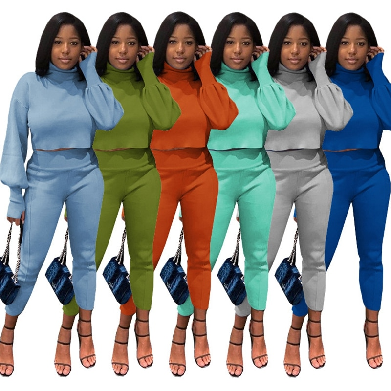 2019 women summer patchwork tank tee top skinny pencil pants suit 2pcs set sporting tracksuit active wear outfit 3 color m6161 Women Two Piece Sports Set Solid Color Lantern Sleeve Thick Tee Tops +Skinny Pencil Legging Pants Set Tracksuit Outfit Active