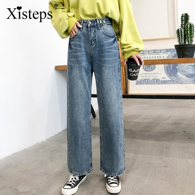 Женские джинсы с регулируемой высокой талией Xisteps, свободные прямые брюки с карманами, новинка 2020