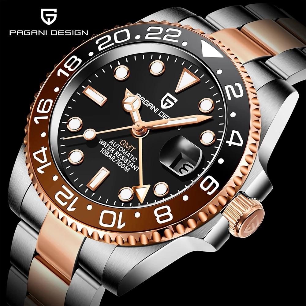 PAGANI تصميم جديد ارتفع الذهب السيراميك الحافة GMT ساعة فاخرة الياقوت الزجاج ساعة أوتوماتيكية الفولاذ المقاوم للصدأ الرجال ساعة ميكانيكية