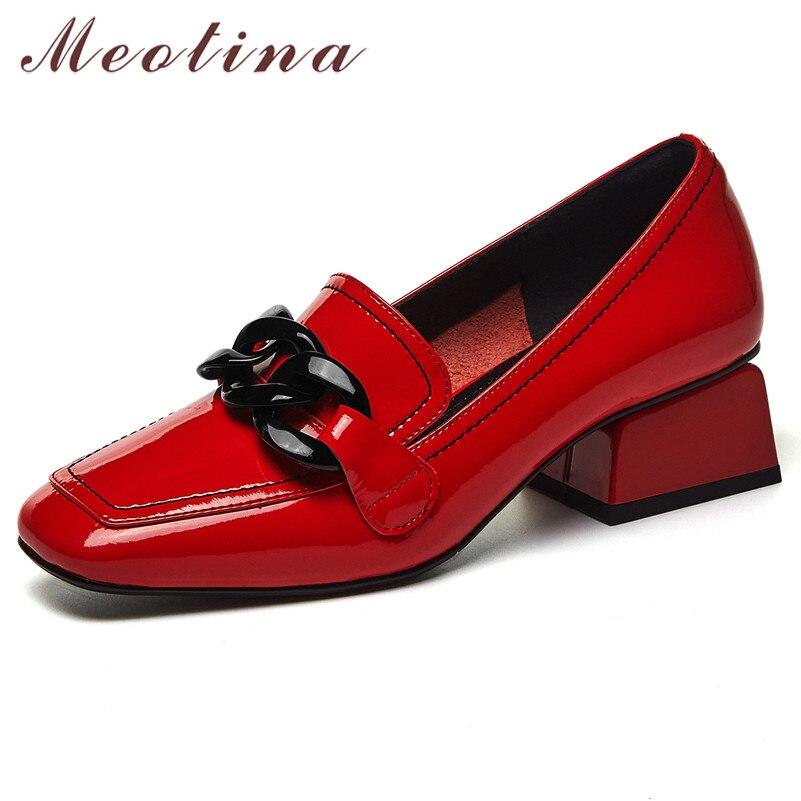 Meotina أحذية النساء الطبيعية جلد طبيعي حذاء حريمي كعب عالي موضة ساحة تو أحذية كعب سميك فستان أحذية ربيع أسود 42